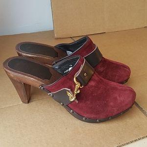 Coach Felicia suede mules heels gold buckle 7